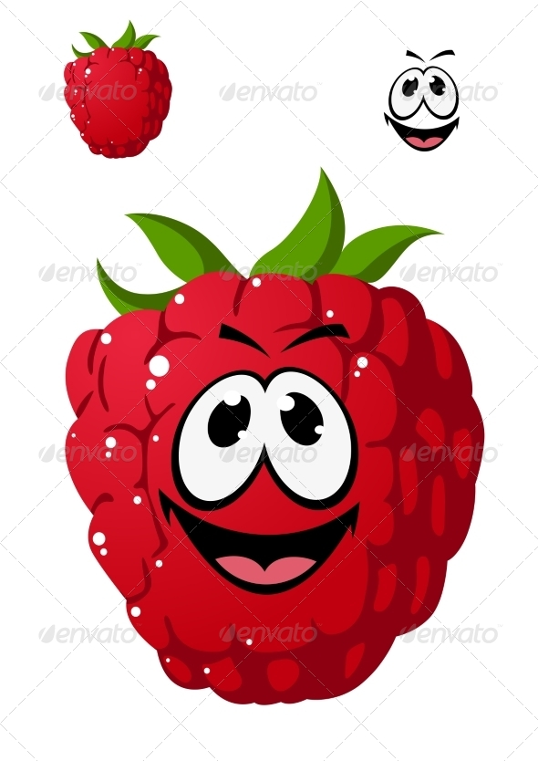 GraphicRiver Cartoon Ripe Red Raspberry with a Cheeky Grin 7546729