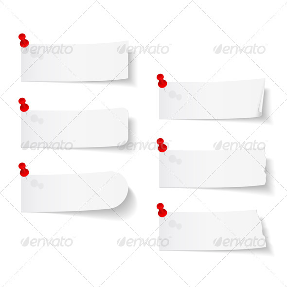 GraphicRiver Blank White Papers with Push Pins 7547936