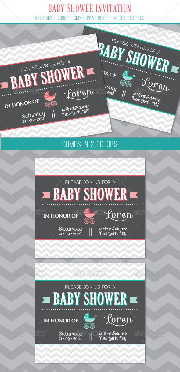 GraphicRiver Baby Shower Invitation Card 7541488