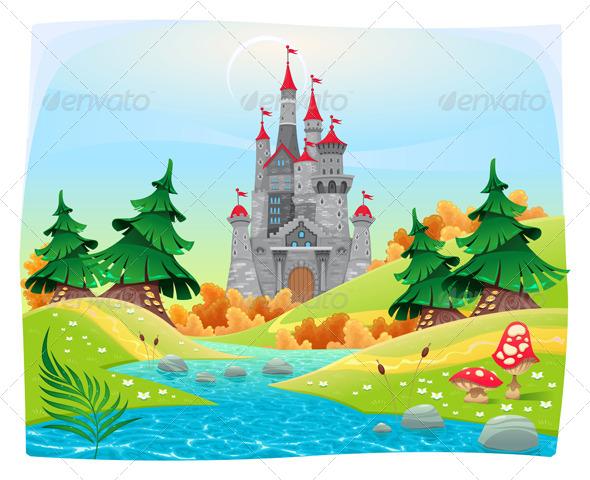 GraphicRiver Mythological Landscape with Medieval Castle 7549149