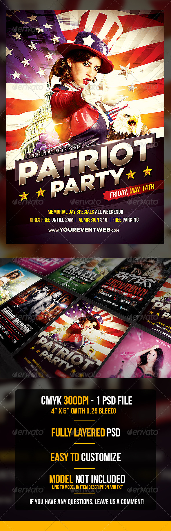 GraphicRiver Patriot Party Flyer Template 7533997