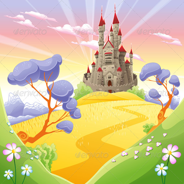 GraphicRiver Mythological Landscape with Medieval Castle 7549707
