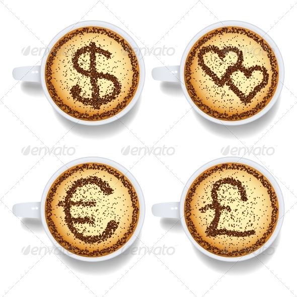 GraphicRiver Cappuccino with Money and Heart Signs 7550548