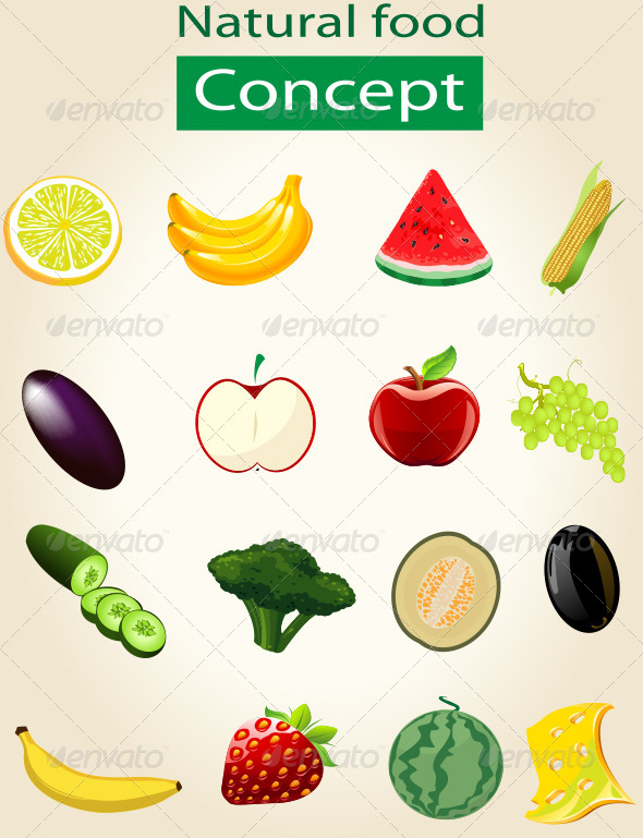 GraphicRiver Natural Vegetable Set 7551053