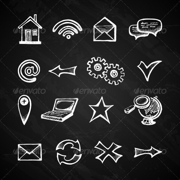 GraphicRiver Internet Chalkboard Icons 7554962