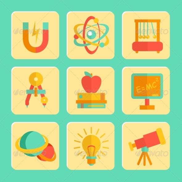GraphicRiver Physics Flat Design Icons Set 7555099