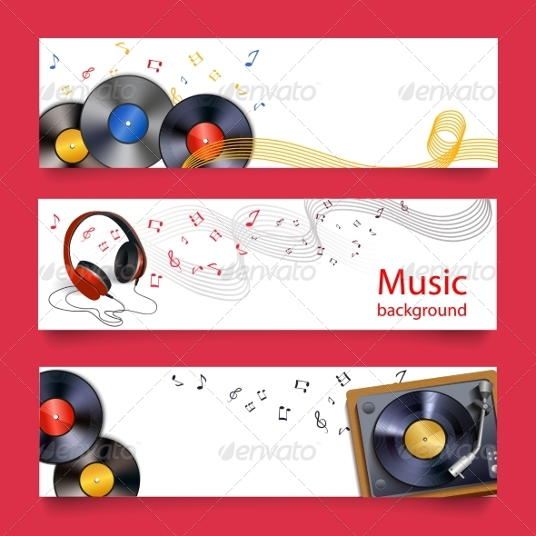 GraphicRiver Vinyl Record Music Banners 7555299