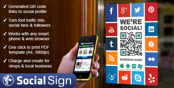 CodeCanyon Social Media QR Code Poster Sign 7555648