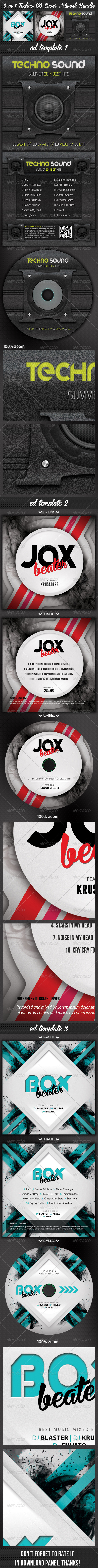 GraphicRiver 3 in 1 Techno CD Cover Artwork Bundle 7555683