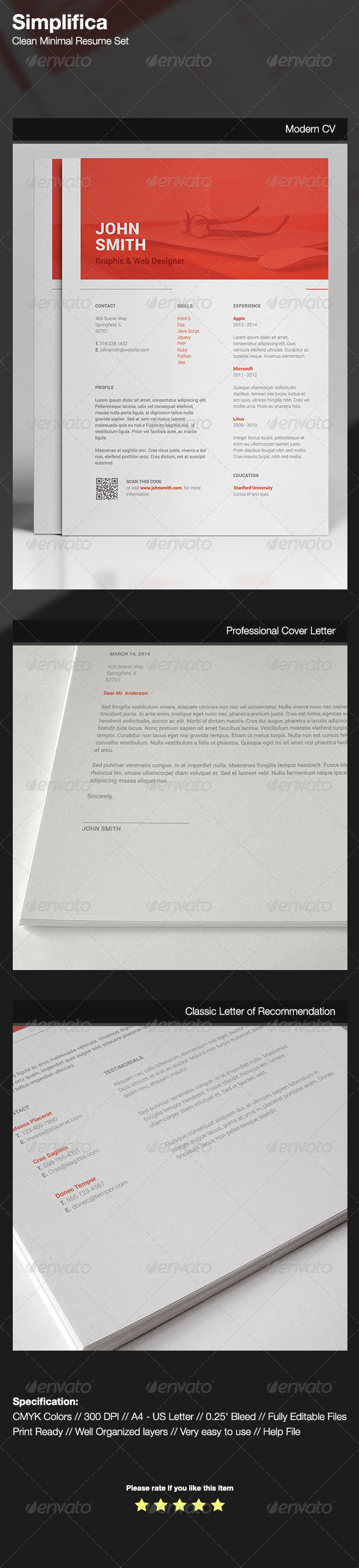 GraphicRiver Simplifica Clean Minimal Resume Set 7556183