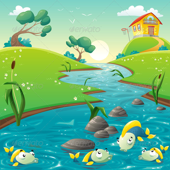GraphicRiver Landscape with River and Fish 7561258