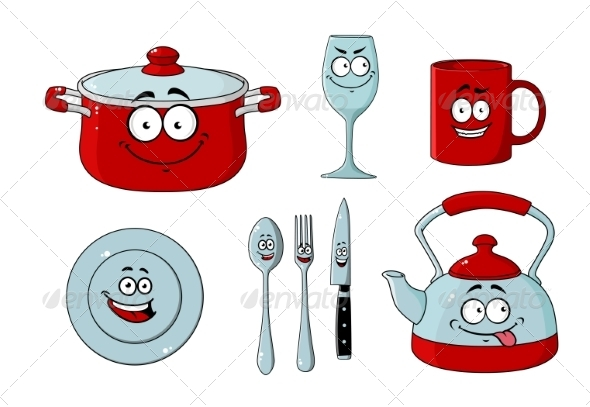 GraphicRiver Kitchenware Cartoon 7562619