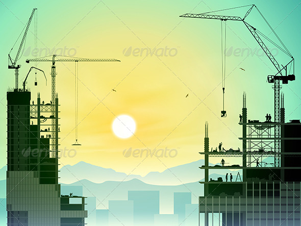 GraphicRiver Tower Cranes 7562935
