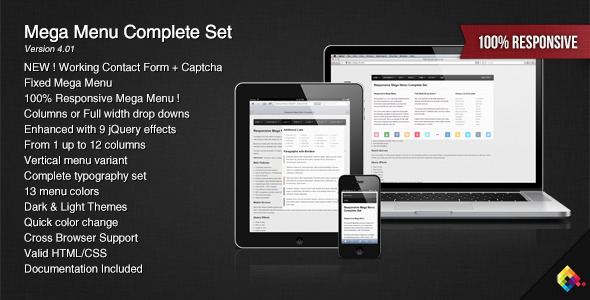 Responsive Mega Menu Complete Set - CodeCanyon Item for Sale