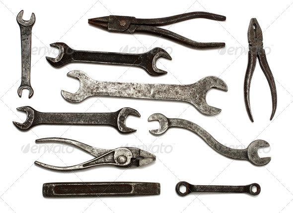 set of old dirty tools - Stock Photo - Images