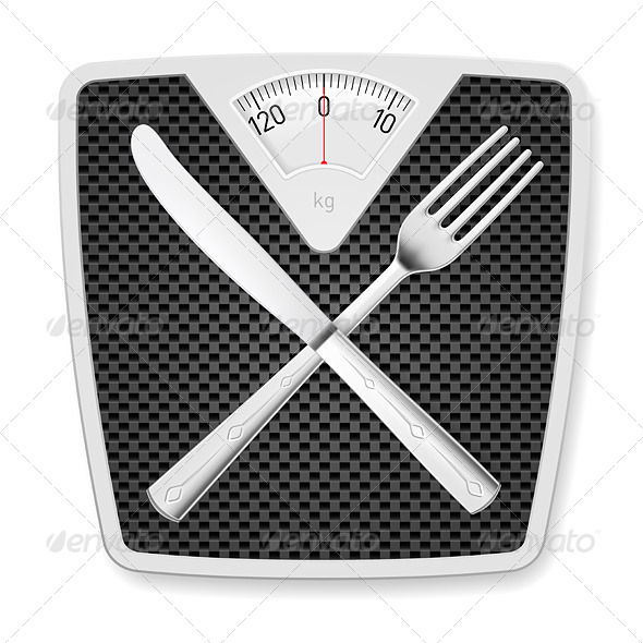 GraphicRiver Bathroom Scales with Fork and Knife 7564230