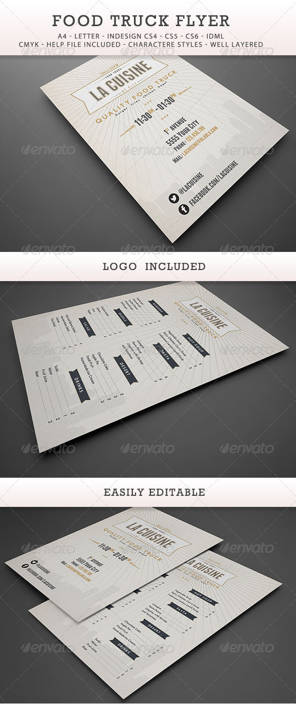 GraphicRiver Food Truck Menu Flyer 7564325