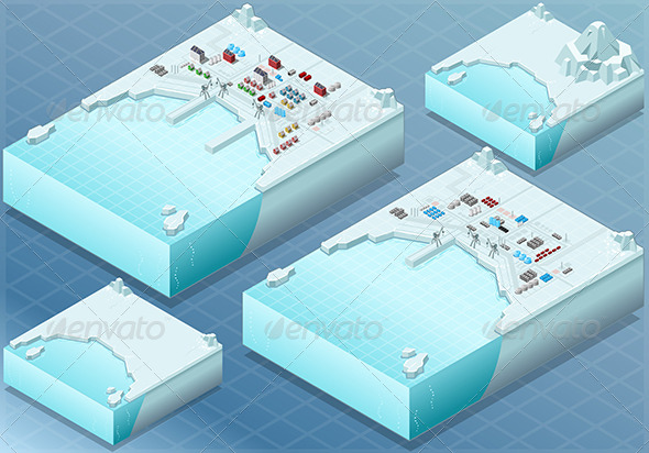 GraphicRiver Isometric Arctic Bay with Town and Industry 7564625