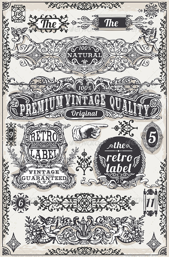 GraphicRiver Vintage Hand Drawn Graphic Banners and Labels 7564695