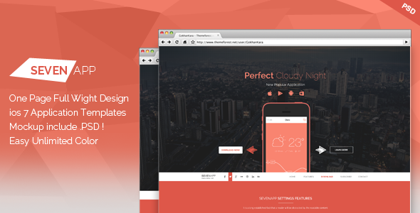 ThemeForest Seven App One Page App Landing Page 7565651