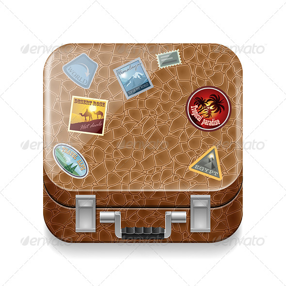 GraphicRiver Leather Suitcase with Stickers 7566234