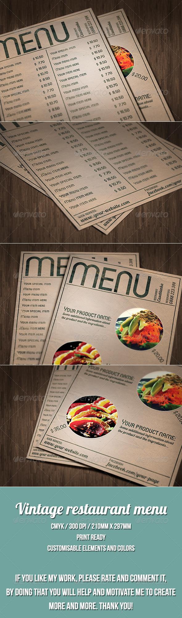 GraphicRiver Vintage style restaurant menu 7568420