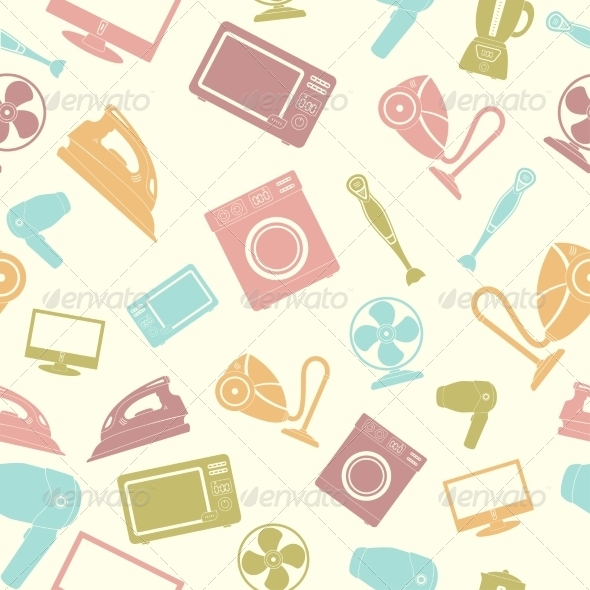 GraphicRiver Seamless Pattern of Household Appliances 7568422