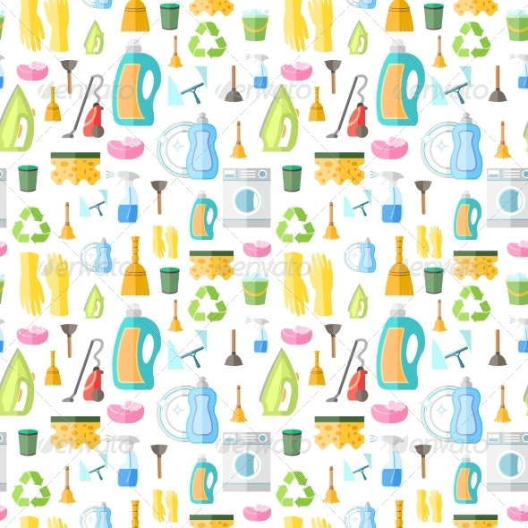 GraphicRiver Cleaning Icon Seamless Pattern 7569815