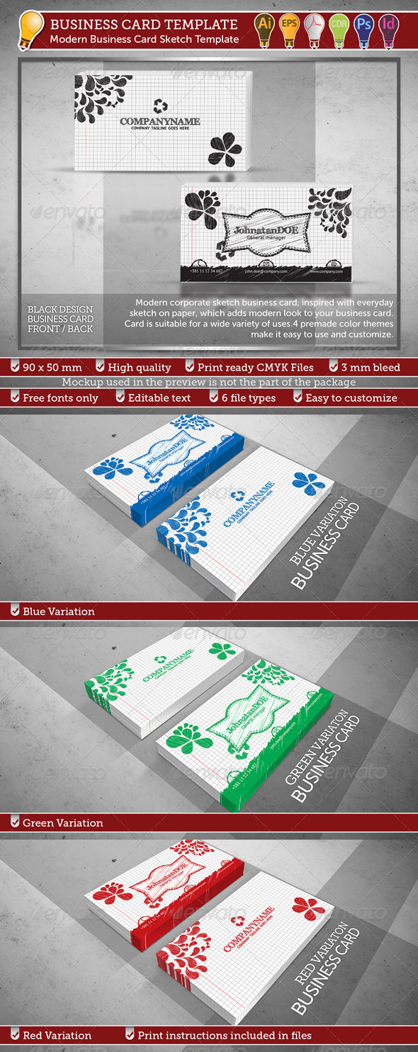 Modern Business Card Sketch Template - Print Templates