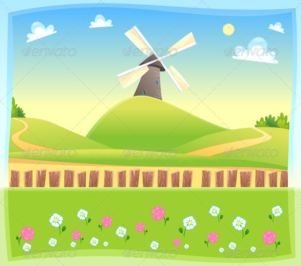 GraphicRiver Windmill Background 7571186