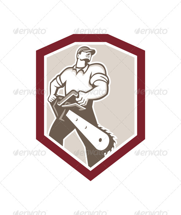 GraphicRiver Lumberjack Arborist Holding Chainsaw Shield 7571258