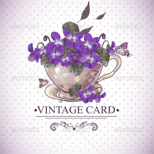 GraphicRiver Vintage Floral Background with Violets in a Cup 7571485