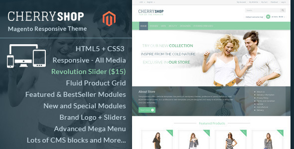 ThemeForest Cherry Shop Magento Responsive Theme 7571652