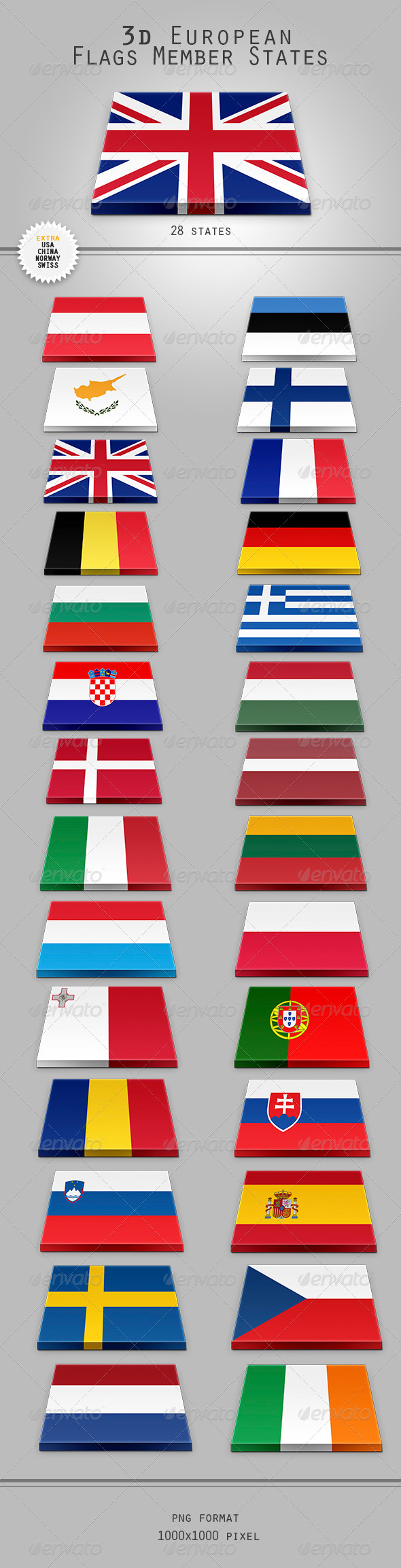 GraphicRiver 3D European Flags Member States 7573675