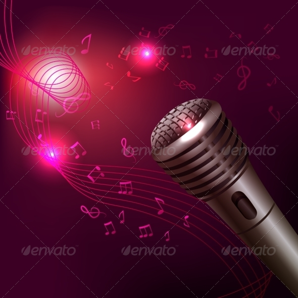 GraphicRiver Music Background with Microphone 7573883