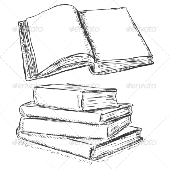 GraphicRiver Blank Open Book Sketch 7573897