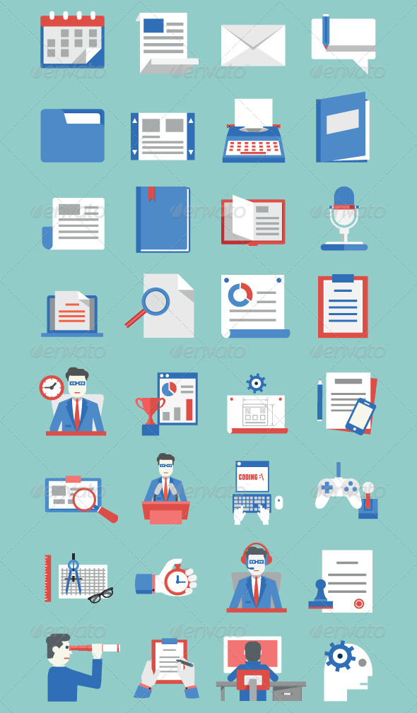 GraphicRiver Set of Documents and Bsiness Development Icons 7573936