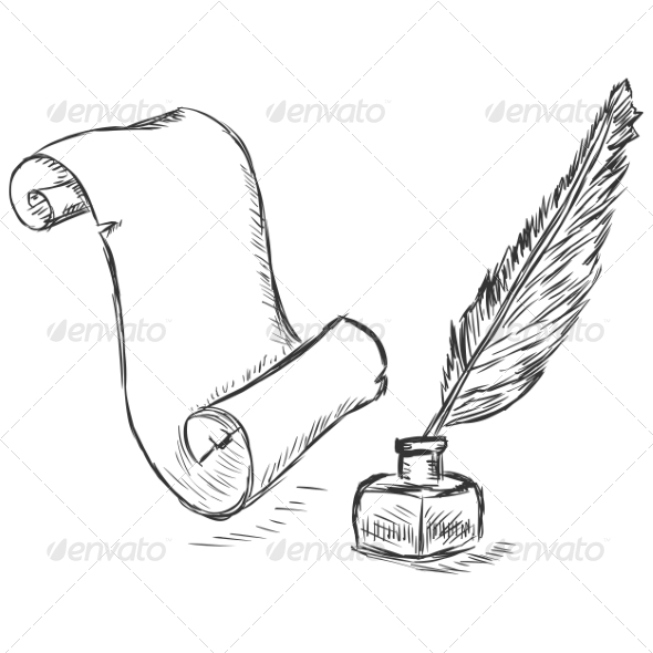 GraphicRiver Scroll and Ink Pen Sketch 7574075