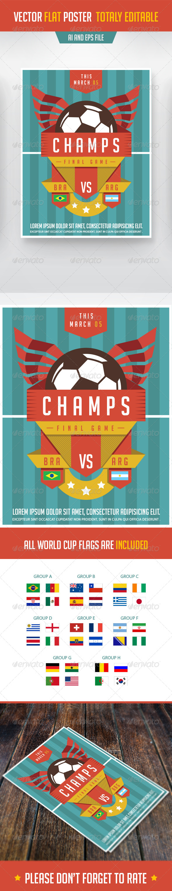 GraphicRiver Soccer Poster in Flat Style 7568306