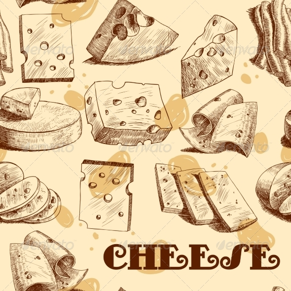 GraphicRiver Cheese Sketch Seamless Wallpaper 7576896