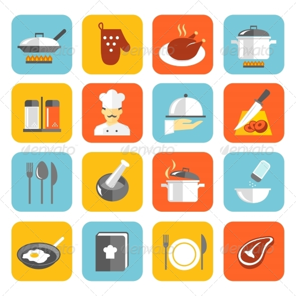 GraphicRiver Cooking Icons Flat 7576970