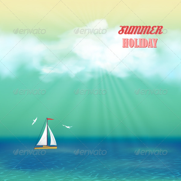 GraphicRiver Retro Sea Yacht Summer Travel Poster 7577082