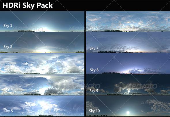3DOcean 10 HDRi Skies Pack 7577494