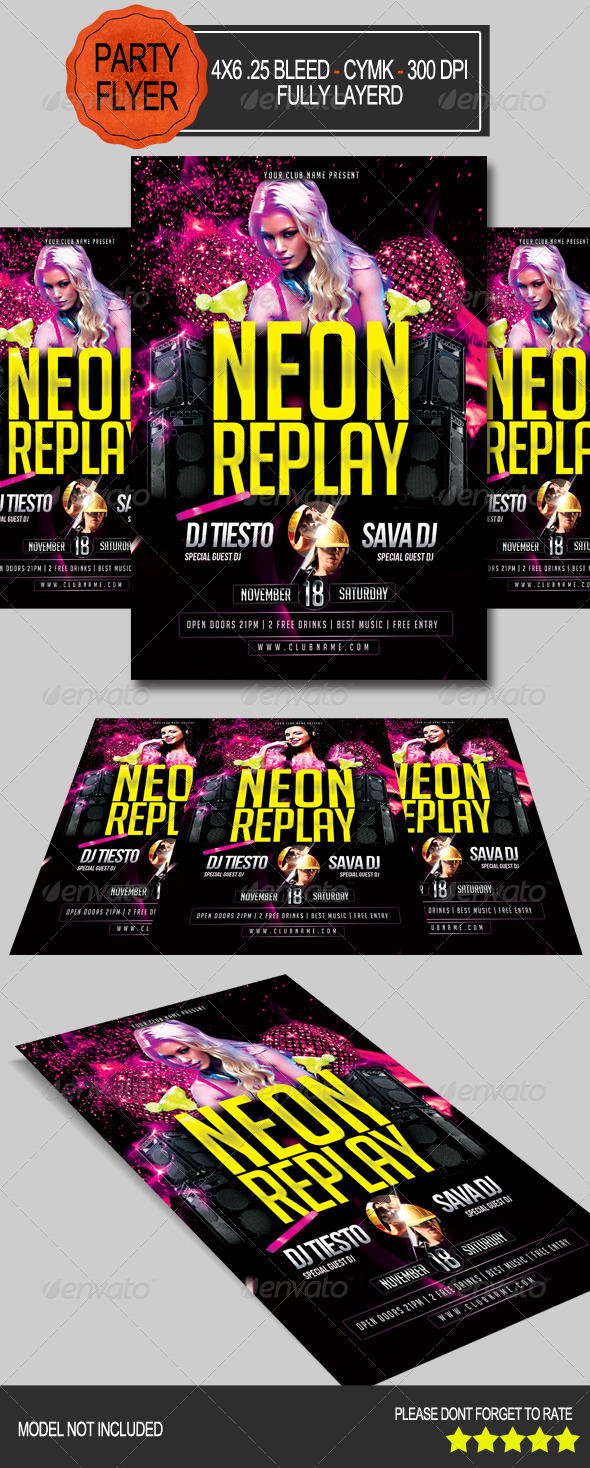 GraphicRiver Neon Replay Flyer 7578489
