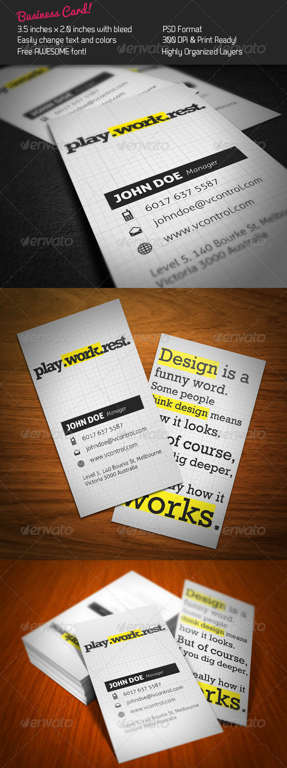 Typo Rock Business Card - Creative Business Cards