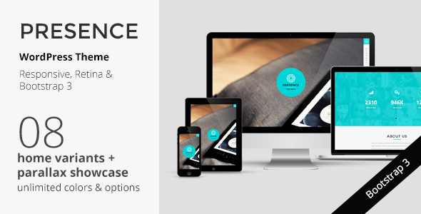 ThemeForest PRESENCE WordPress Responsive One Page Parallax 7520584