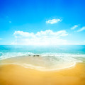 Golden Beach And Blue Sky - PhotoDune Item for Sale