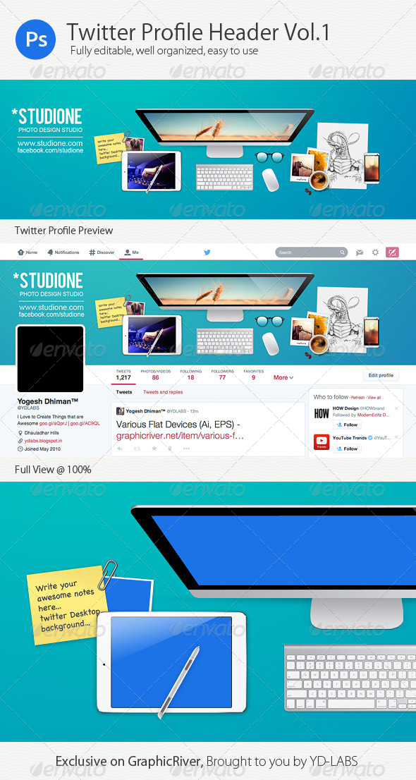 GraphicRiver Twitter Profile Header V1 7580636