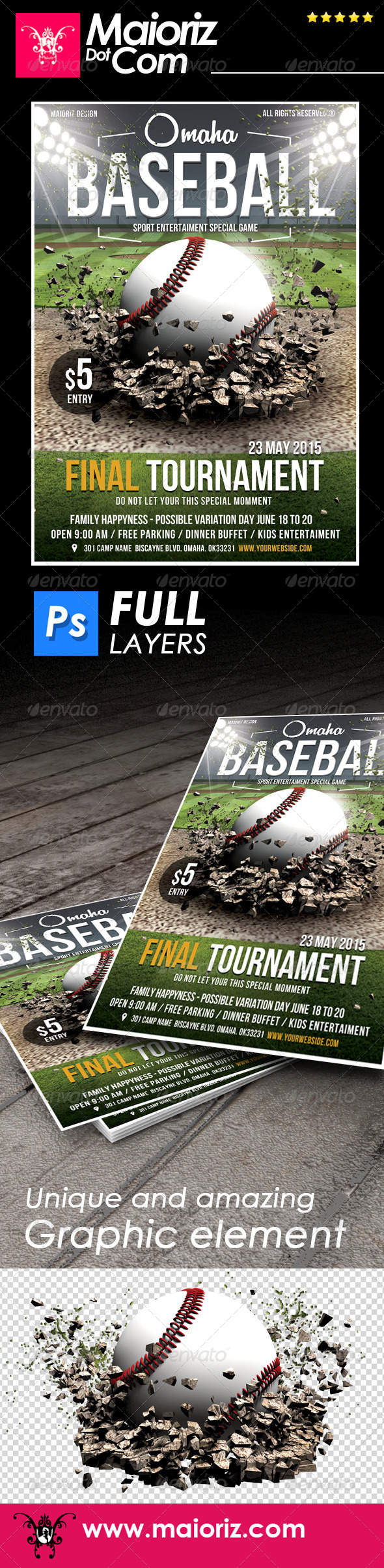 GraphicRiver Baseball Game Flyer Template 7581834