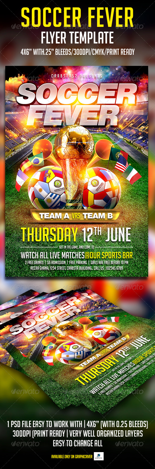 GraphicRiver Soccer Fever Flyer Template 7581982